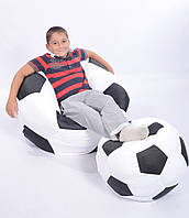 Комплект кресло-мяч 80 см + мячик 50 см из ткани Оксфорд черно-белое, кресло-мешок мяч, фото 1