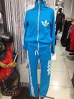 Спортивный женский костюм Адидас голубой