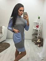 Платье карманы двухцветное Батал 10/782