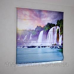 Римские фотошторы радужное небо над водопадом