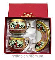 Чайный сервиз Гейши на розовом фоне
