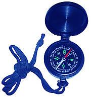 Компас синий пластиковый корпус с крышкой на шнурке., фото 1