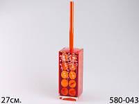 Подставка для туалетной щетки акрил 27 cм оранжевый 580-043