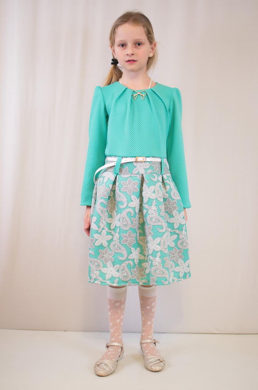 Детское модное, нарядное  платье, бирюзовое и коралловое.