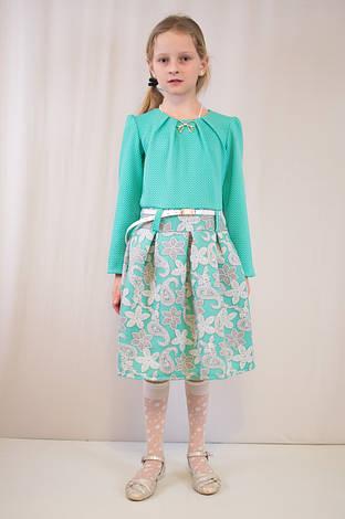 Детское модное, нарядное  платье, бирюзовое и коралловое., фото 2