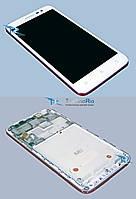 Модуль Дисплей c тачскрином Lenovo A8/A806, белый оригинал с рамкой