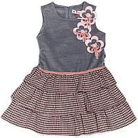 Платье для девочки 1030 серое с рюшами