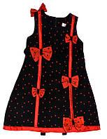 Платье для девочки 1009 чёрно-красное с бантами