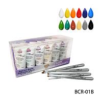 Профессиональный набор акриловых красок с комплектом из 5-ти кисточек для китайской росписи