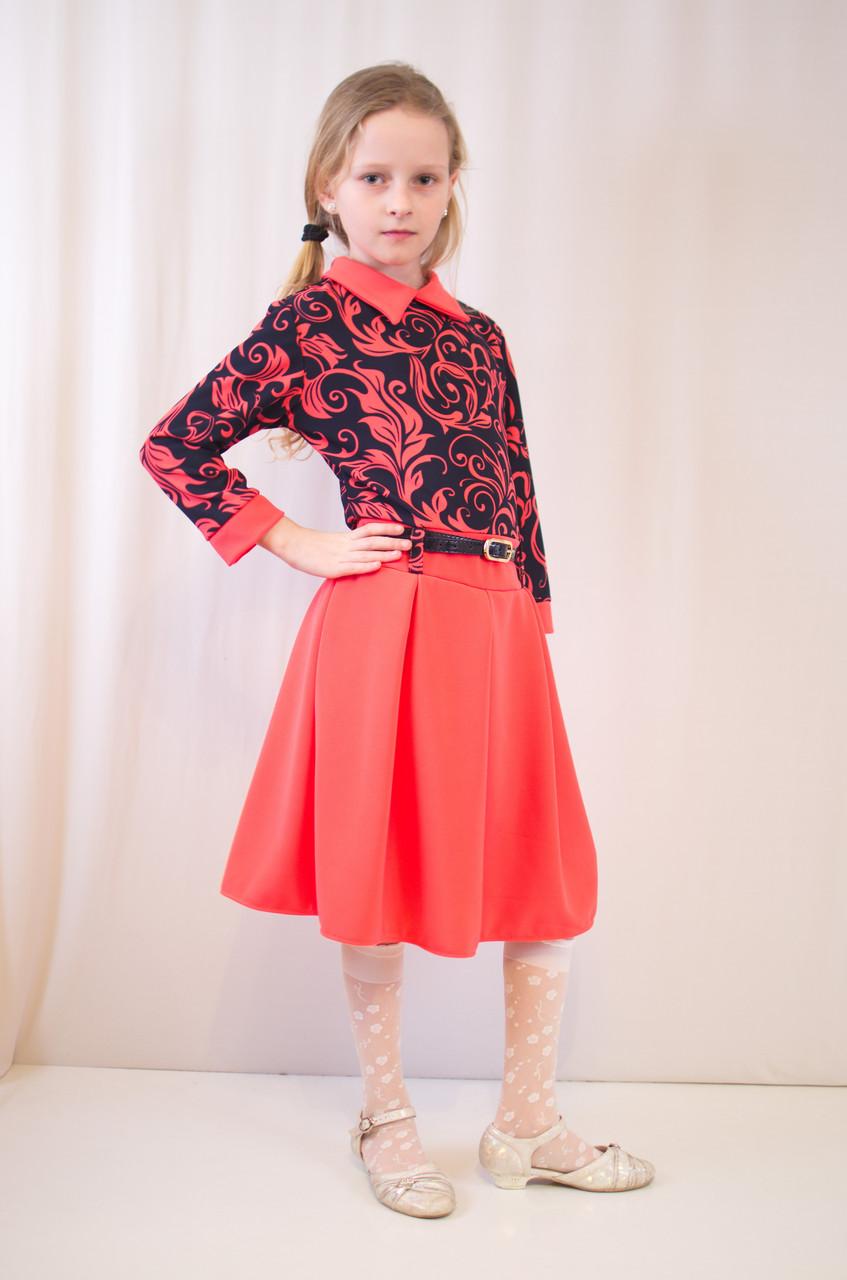 Детское оригинальное, стильное коралловое трикотажное платье.