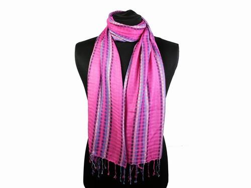 Шарф красивый на шею лилово-розовый Полоски