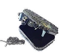 Женская сумка клатч кастет 63 с шипами и черепами
