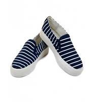 Модные слипоны темно-синие полосатые