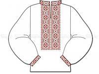 Заготовка детской сорочки для вышивки бисером «Д-214 ч Красные звездочки»