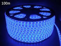 Светодиодная лента LED 5050 B 220V Бухта 100м  синие диоды