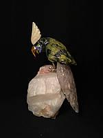 Птичка из камня 18 см. (змеевик, розовый кварц)