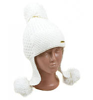 Белая шапка ушанка детская