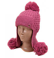 Красивая шапка ушанка для девочки сиреневая