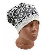 Женская шапка серая Орнамент