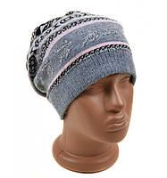 Вязанная женская шапка серая Олень
