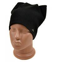 Черная шапка Кошка на флисе