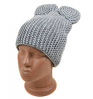 Серая шапка женская вязанная Бант