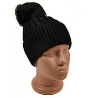 Черная шапка с отворотом и помпоном вязанная