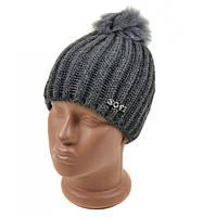 Модная серая шапка крупная вязка