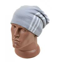 Зимняя стильная мужская шапка светло-серая