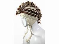 Вязанная теплая шапка Ирокез с ушками зима 2016 Ручная вязка
