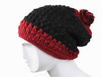 Вязанная шапка с помпоном двухцветная Ручная вязка