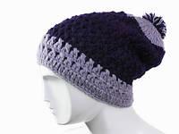 Двухцветная зимняя шапка с помпоном Ручная вязка