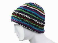 Зимняя модная шапка в полоску Ручная вязка