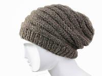 Стильная шапка шерстяная натуральные цвета Ручная вязка