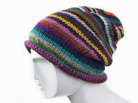 Полосатая шапка для зимы Ручная вязка в ассортименте