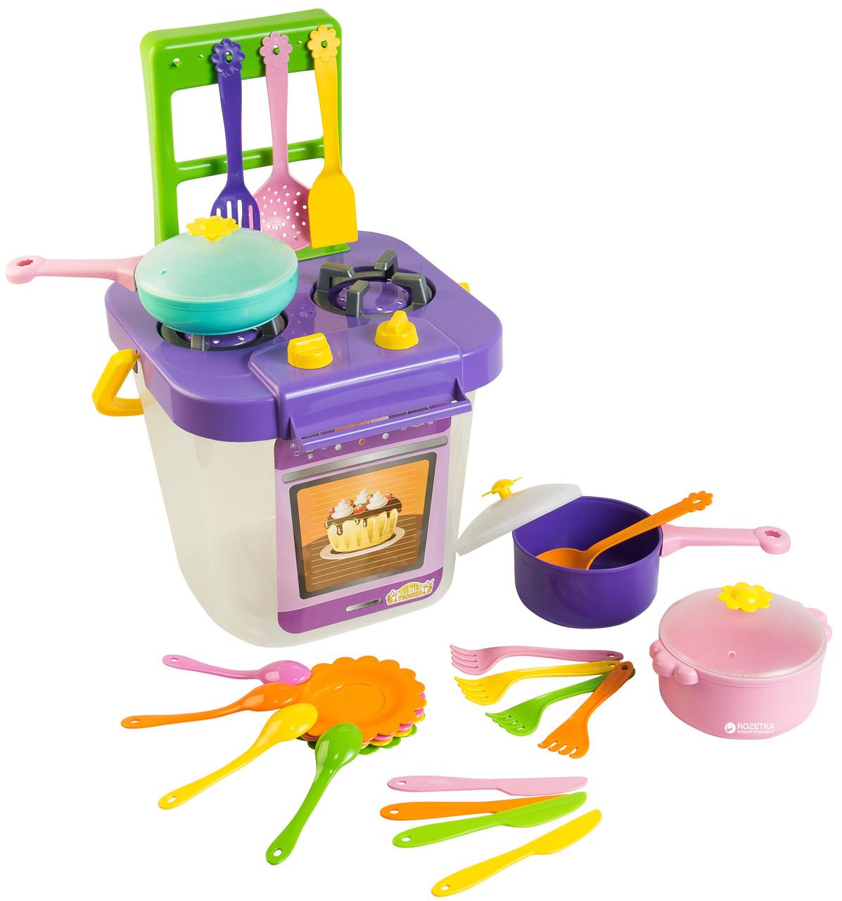"""Детский Набор посуды """"Ромашка"""" с газовой плитой, 25 предметов, 39153"""