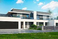 S16. Проект современного двухэтажного дома с террасой и гаражом