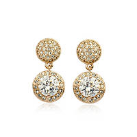 Серьги FASHION LOOK ювелирная бижутерия золото 18К декор кристаллы Swarovski
