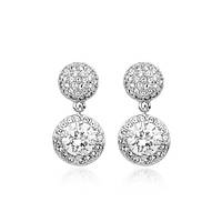 Серьги FASHION LOOK SILVER ювелирная бижутерия родий декор кристаллы Swarovski
