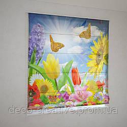 Римские фотошторы бабочки над цветами
