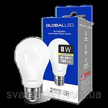 LED лампа GLOBAL A60 8W м'яке світло 220V E27 AL (1-GBL-161)