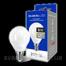 LED лампа GLOBAL G45 F 5W м'яке світло 220V E14 AP (1-GBL-143)