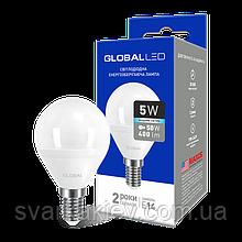 LED лампа GLOBAL G45 F 5W яскраве світло 220V E14 AP (1-GBL-144)