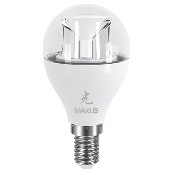 Светодиодная лампа MAXUS 6Вт G45/прозрачная E14 Теплый белый 3000К