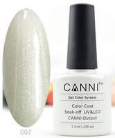 Гель лак Canni 007 (прозрачный с мелкими серебряными блестками)