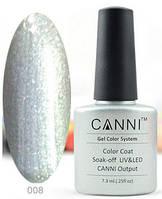Гель лак Canni 008 (серебристый металлик)