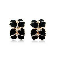Серьги BLACK SUMMER ювелирная бижутерия золото 18К декор кристаллы Swarovski, фото 1