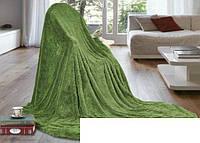 Ворсистое покривало на ліжко Євро розміру East Comfort зелене