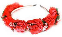 Ободок с цветами для волос Красные розы