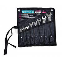 Набір ключів ріжково-накидних у тканинному чохлі, Cr-V, 14 шт. (8-24 мм) 48-968 Berg // Набор ключей рожково-накидных в тканевом чехле, Cr-V